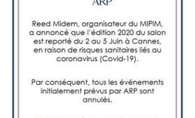 Le MIPIM est reporté!